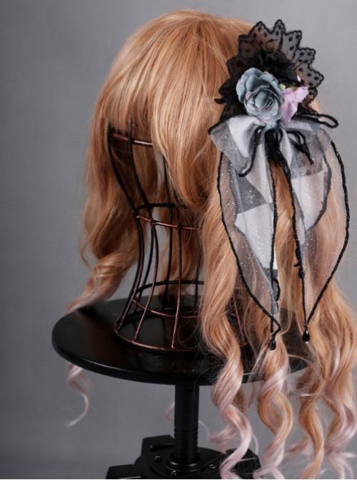 Obsidian Butterfly Dance Series Misty Rain Grey Rose Gothic Lolita Hair Clip