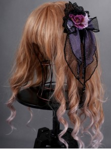 Obsidian Butterfly Dance Series Crystal Purple Rose Gothic Lolita Hair Clip