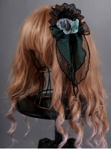 Obsidian Butterfly Dance Series Emerald Rose Gothic Lolita Hair Clip