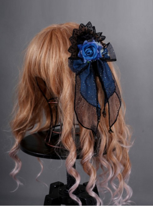 Obsidian Butterfly Dance Series Jewelry Blue Rose Gothic Lolita Hair Clip