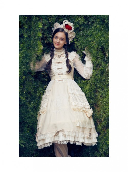 Classic Puppets Bear Series Ivory Bowknot Classic Lolita Hand Sleeves