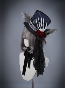 Moon Wolf Series Rose Black Gothic Lolita Bowler Hat