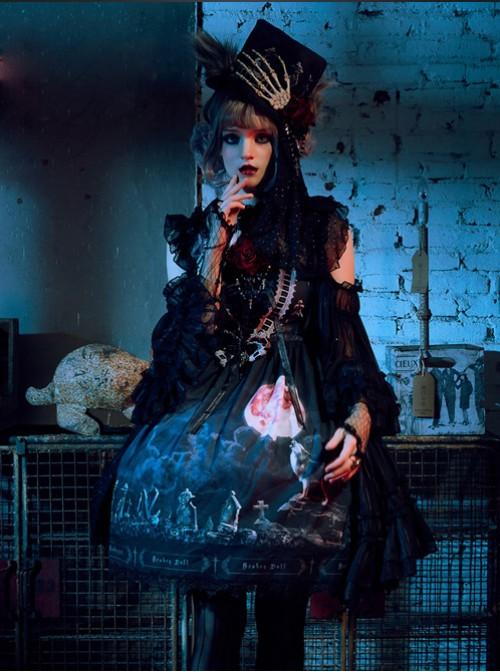 Moon Wolf Series Rose Black Gothic Lolita Bowler Hat