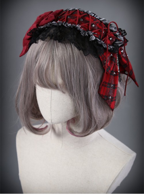 The Turn Into A Wolf's Little Red Hat Series Red Black Lolita Head Band