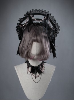 Swan Bone Series Black Swan Pearl Chain Gothic Lolita Bonnet