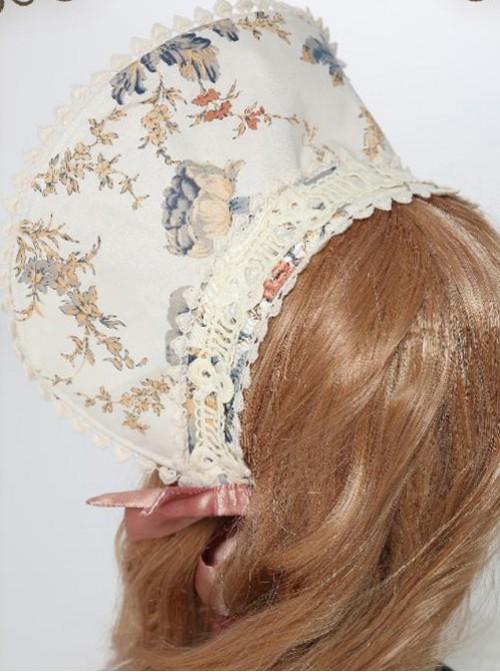 Garden Series Flower Printed White Lace Pink Lolita Bonnet