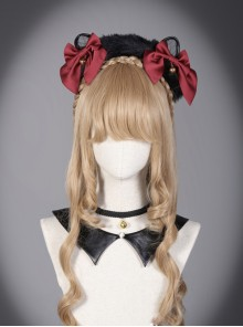 Sorceress Luna Series Black And Red Bowknot Cat Ear Lolita Head Band