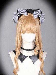 Sorceress Luna Series Black And Grey Bowknot Cat Ear Lolita Head Band