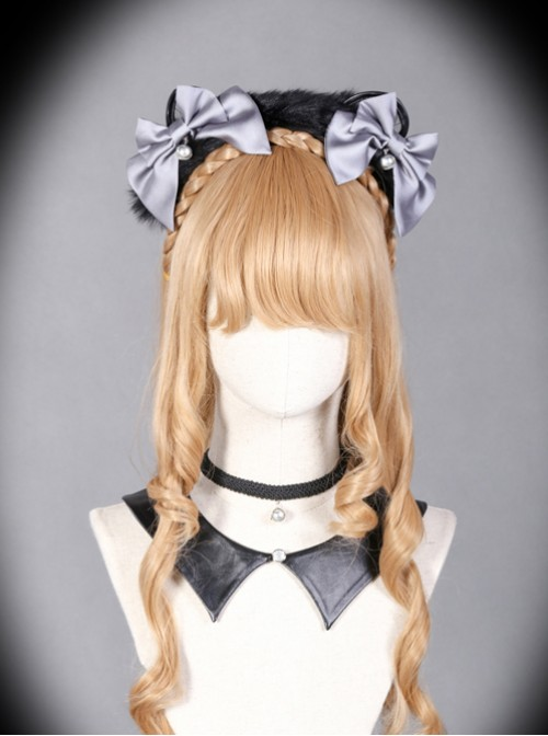 Sorceress Luna Series Black And Grey Bowknot Cat Ear Lolita Head Band