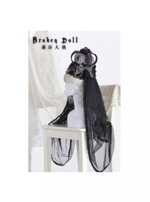The Bride Doll Series Pearl Crow Cyan Gothic Lolita Crown Veil
