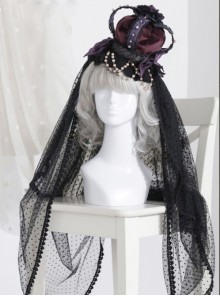 The Bride Doll Series Pearl Purple Gothic Lolita Crown Veil