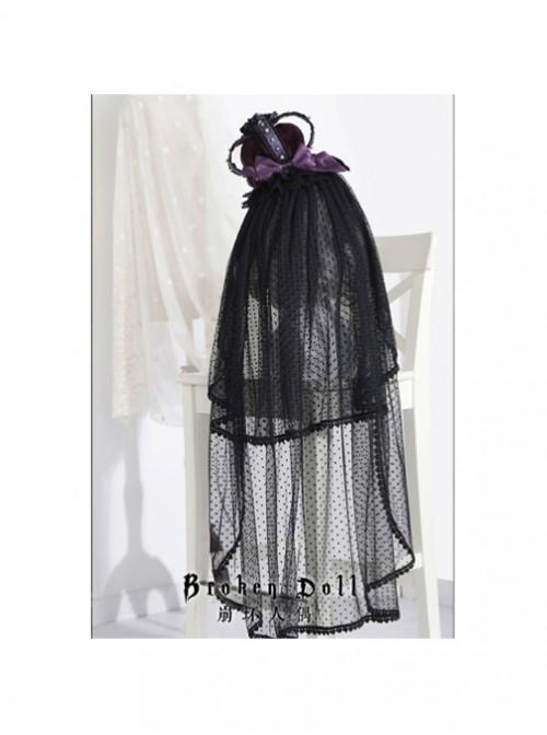 The Bride Doll Series Pearl Purple Gothic Lolita Crown Veil