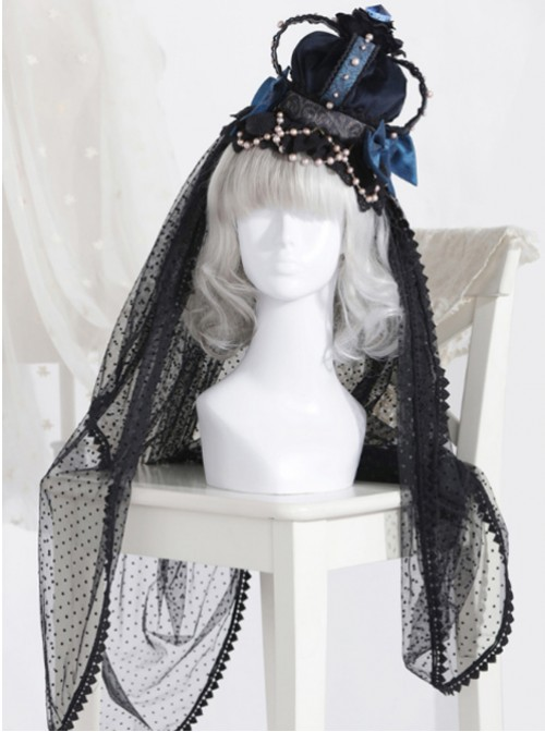 66d2b87edd390 The Bride Doll Series Pearl Indigo Gothic Lolita Crown Veil