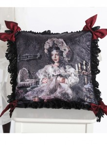 The Bride Doll Series Lace Bowknot Black Tea Lolita Cushion Cover