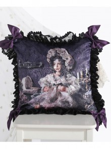 The Bride Doll Series Lace Bowknot Purple Lolita Cushion Cover