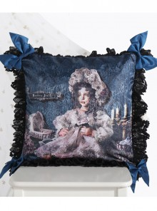 The Bride Doll Series Lace Bowknot Indigo Lolita Cushion Cover