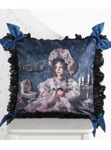 The Bride Doll Series Lace Bowknot Indigo Lolita Cushion Cover