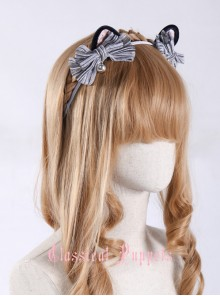 Cats Series Tabby Kitty Silver Gray Bowknot Cat Ears Lolita Head Band