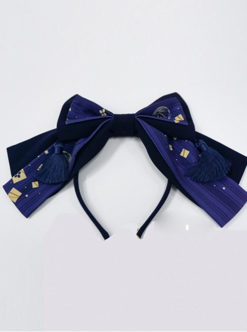 Kaguya Rabbit Series Gorgeous Design Bowknot Navy Blue Lolita Head Band