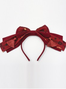 Kaguya Rabbit Series Gorgeous Design Bowknot Wine Red Lolita Head Band