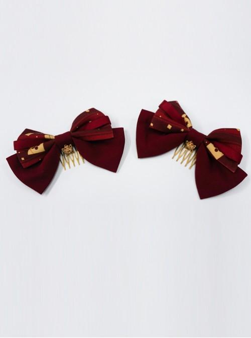 Kaguya Rabbit Series Bowknot Wine Red Lolita Tuck Comb