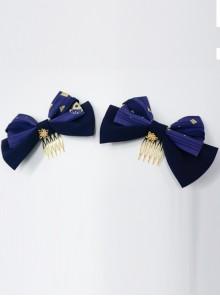 Kaguya Rabbit Series Bowknot Navy Blue Lolita Tuck Comb