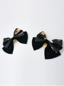 Kaguya Rabbit Series Bowknot Black Lolita Tuck Comb