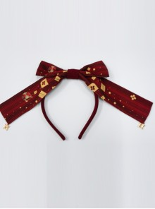 Kaguya Rabbit Series Wine Red Long Tail Concise Design Bowknot Lolita Head Band