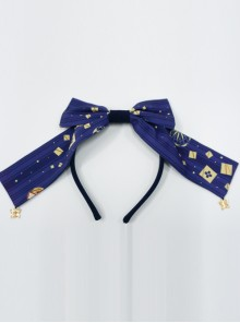 Kaguya Rabbit Series Navy Blue Long Tail Concise Design Bowknot Lolita Head Band