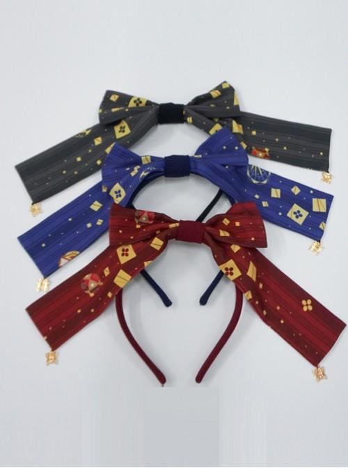 Kaguya Rabbit Series Navy Blue Long Tail Concise Design Bowknot Lolita Head Band