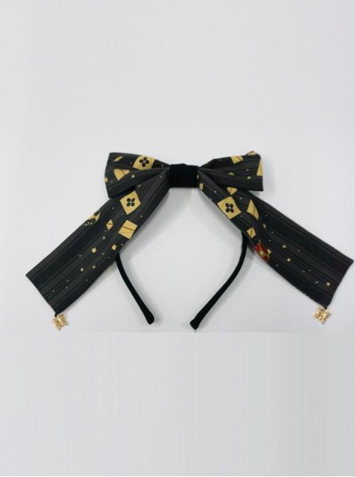 Kaguya Rabbit Series Black Long Tail Concise Design Bowknot Lolita Head Band