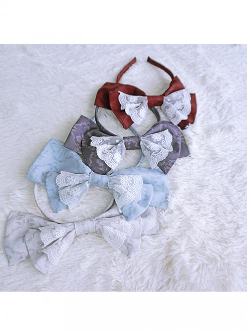 Love And Death Series Printing Bowknot Gray White Lolita Head Band
