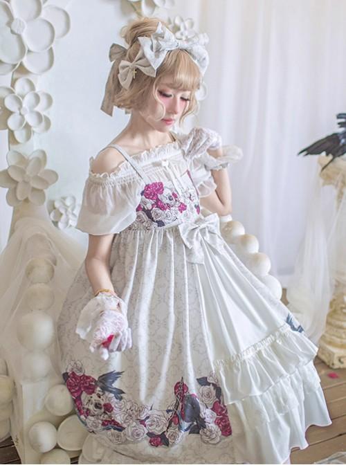 Love And Death Series Printing Bowknot White Lolita Head Band