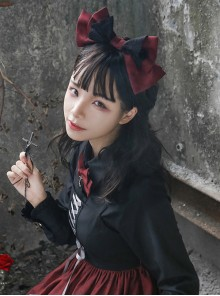 Love And Death Series Printing Bowknot Red Black Lolita Head Band