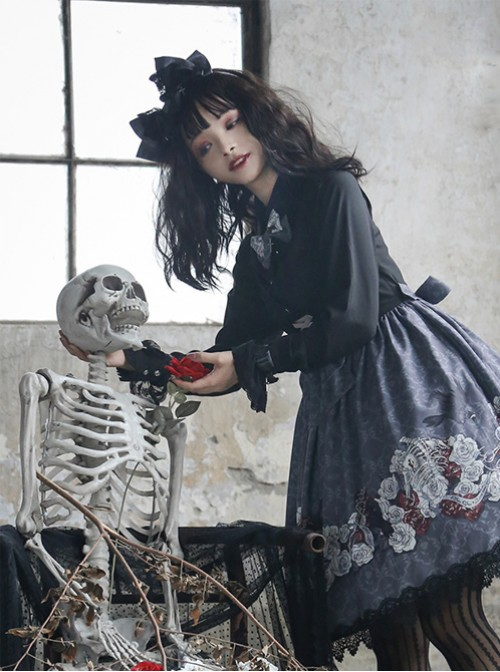 Love And Death Series Printing Bowknot Gray Black Lolita Head Band