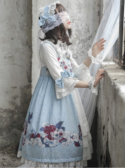 Love And Death Series Cross Pendant Blue Gray Lace Lolita Hair Band