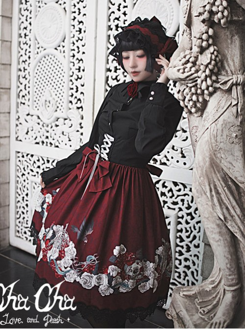 Love And Death Series Cross Pendant Red Black Lace Lolita Hair Band