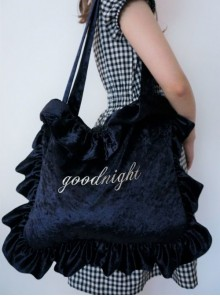 English Letter Embroidery Velvet Lolita Ruffle Shoulder Bag