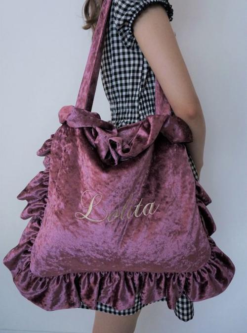 English Letter Embroidery Velvet Lolita Ruffle Shoulder Bag