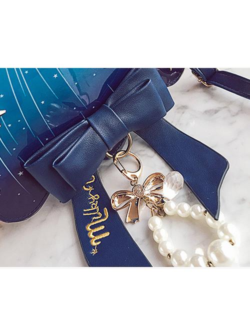 Meteor Jellyfish Bowknot Pearl Blue Lolita Shoulder Bag