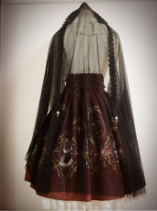 Love And Death Series Rose Droplight Fashion Black Water Jade Gothic Lolita Mantilla