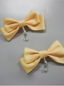 Lemon Planet Yellow Ribbon Bowknot Sweet Lolita Brooch