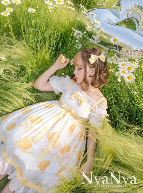 Lemon Planet Yellow Ribbon Bowknot Sweet Lolita Brooch