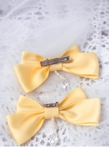 Lemon Planet Yellow Ribbon Bowknot Sweet Lolita Hairpins