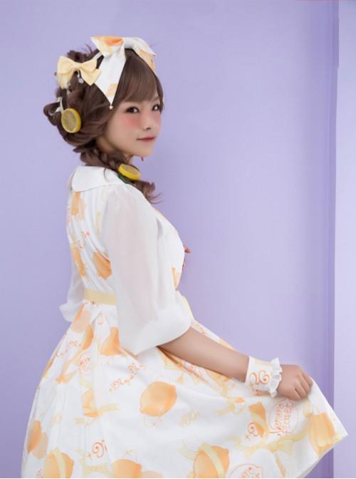 Lemon Planet Yellow Ribbon Bowknot Sweet Lolita Hairpins