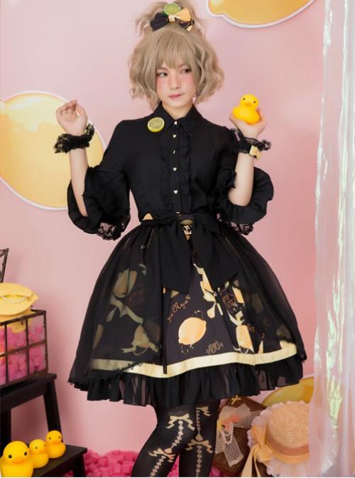 Lemon Planet Series Printing Bowknot Lolita Hairpin