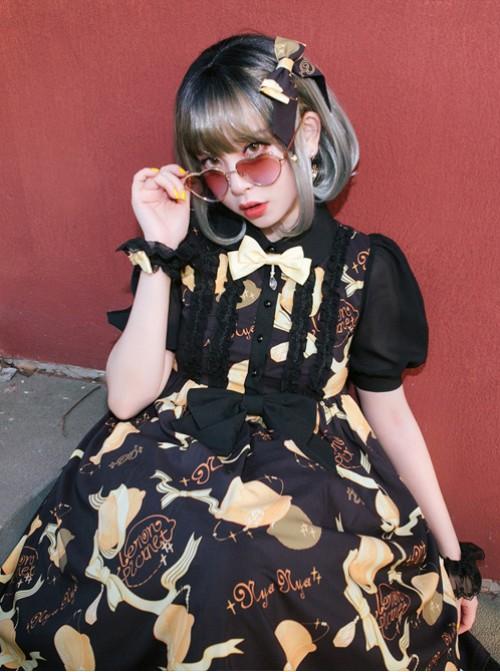 Lemon Planet Series Printing Bowknot Lolita Hairpin With The Star Pendants