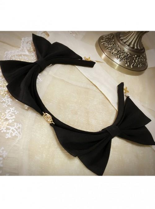 Rose Droplight Series Black Bowknot Gothic Lolita Headband