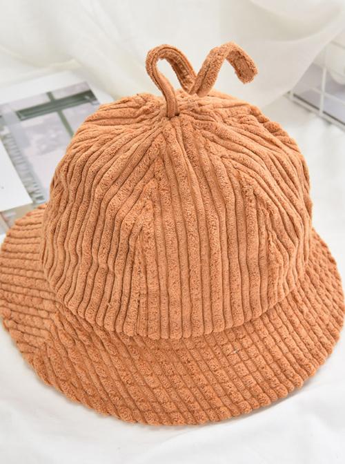 Pure Color Stripe Sweet Lolita Cute Fisherman Hat
