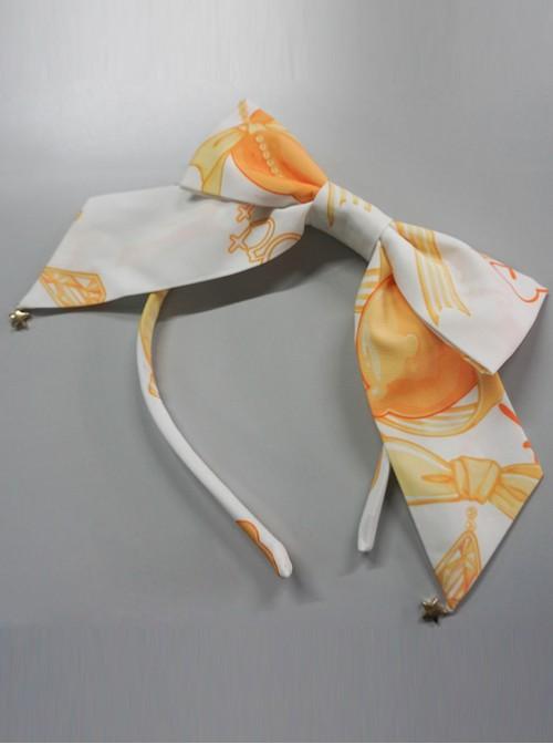 Lemon Planet Series Printing Bowknot Lolita Hair Hoop